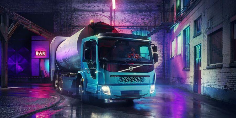 Volvo FE Electric, бесшумный, ночь